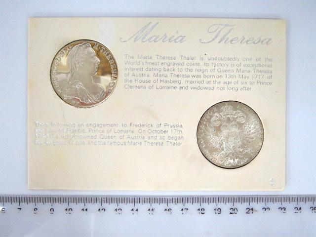 """שתי מטבעות כסף ע""""ס Thaler מריה טרזיה קיסרית אוסטריה, הטבעה חדשה Restrike S.F. של מטבעות מ 1780, מצב UNC"""