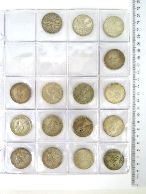 16 מטבעות כסף: 5 Mark west Germany, 1951-1973 BRD, 11.1 gr., 14 X 500 Lira Italy 1958-1966, 11.0  gr.
