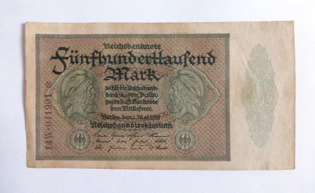 """שטר Reichsbanknote, גרמניה, 1.5.1923, ע""""ס 500000 מרק, מספר חילופי Replacement no"""