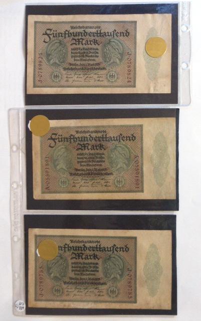 """חמישה שטרות Reichsbanknote גרמניה, 1.5.1923, ע""""ס 500000 מרק"""