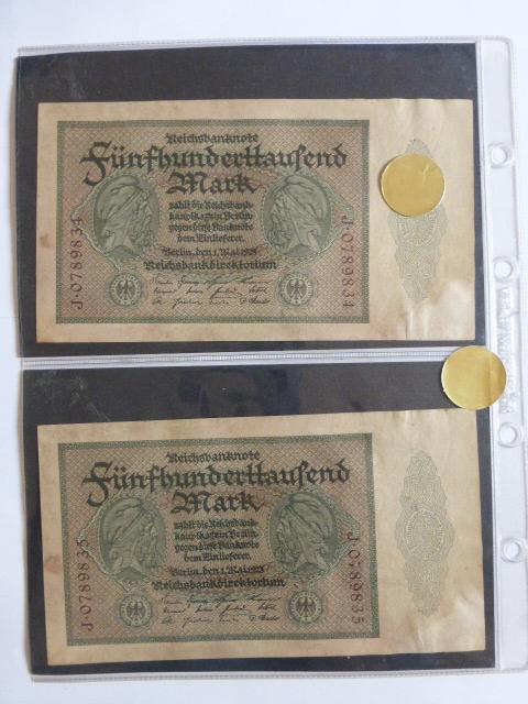 """ארבעה שטרות Reichsbanknote גרמניה, 1.5.1923, ע""""ס 500000 מרק, מספרים רצים"""