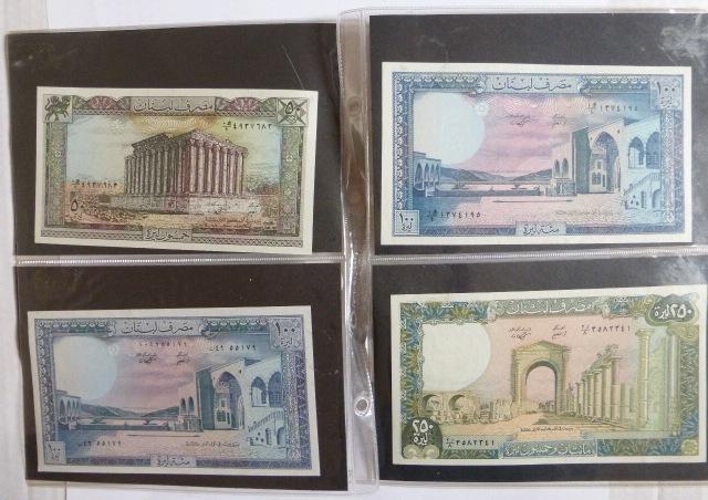 שמונה שטרות Banque du Liban ערכים: Five Livres, 1986, 50 Livres,1985, 1988, 100 Livres, 1985, 1988, 250 Livres (3) 1988, condiition XF-AUC