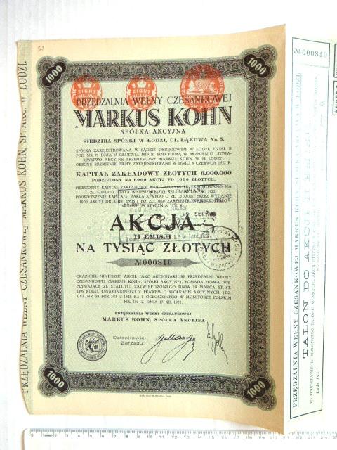 תעודת מלווה, אגרת חוב, פולין 1931 של Markus Kohn