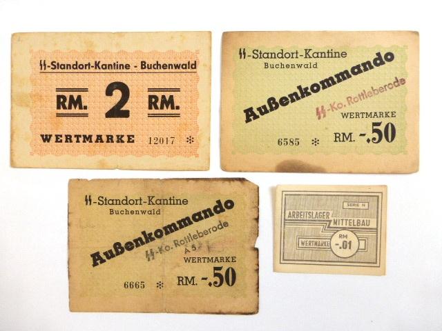 ארבעה שטרות -תלושים, מחנות ריכוז מלחמת העולם השניה, שלושה Buchenwald, אחד  Mittelbau