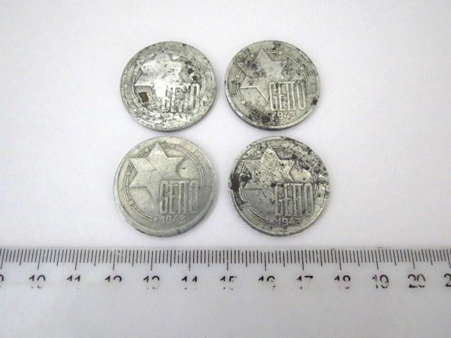 """ארבע מטבעות ע""""ס 10 מרק Ghetto Litzmannstadt 1943, מצבים good-Vg"""