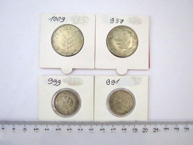 ארבעה מטבעות, מנדט: 50 מיל (1933,1935), 100 מיל (1935,1939), מצבים XF