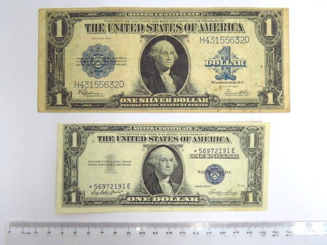 """שני שטרות Silver certificate ע""""ס דולר אחד (כחול), סדרה של 1923 VG Krause 342, סדרה של 1935 XF Krause 416 D2"""