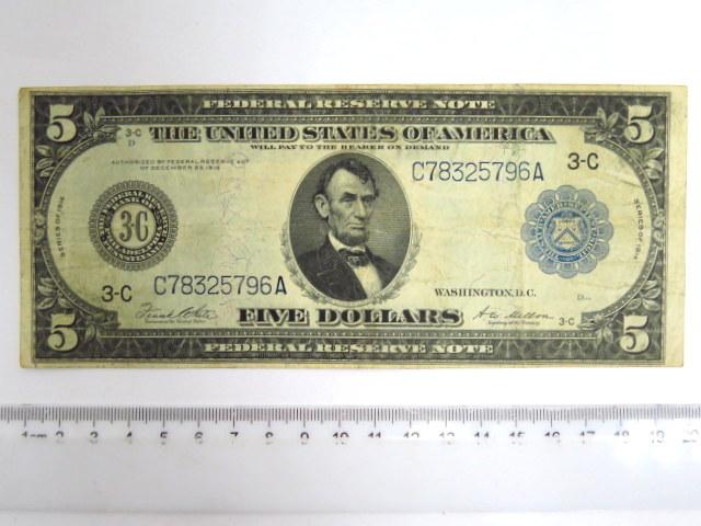 """שטר Federal Reserve Note ע""""ס חמישה דולרים, סדרה של 1914 blue Philadelphia 3-c, fine (Krause 359)"""