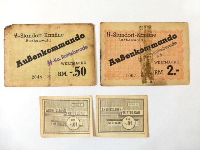 ארבעה שטרות, תלושים: SS Standort Kantine Buchenwald, Aussenkommando 2-RM, 0.50 RM, Arbeitslager Mittelbau 0.01 RM (VG-Fine)