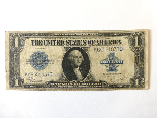 """שטר ע""""ס One silver Dollar , 1923 fine"""