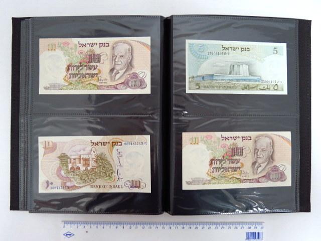 """אוסף שטרות ישראל, מבנק אנגלו פלשתינה עד בנק ישראל אנגלו-פלשתינה: 500 מיל (fine), לירה א""""י אחת (VG), בל""""ל 500 פר',  1 ל""""י , 5 ל""""י , 10 ל""""י, 250 פר, בנק ישראל 1955: 500 פר, 1 ל""""י, 1 ל""""י,  5 ל""""י (2), 10 ל""""י, 10 ל""""י (2), , 50 ל""""י, בנק ישראל 1958-60: חצי ל""""י, (2-UC), 1 ל""""י UC-XF, 5 ל""""י, UC-XF, 5 ל""""י Fine-VF, 10 ל""""י, XF-UC,"""