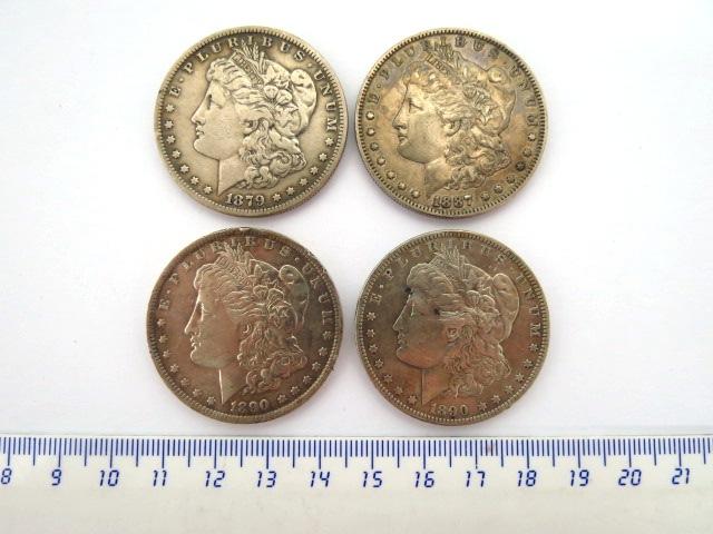 """ארבע מטבעות כסף, """"מורגן דולר"""" 1879 (fine), 1887 (fine), 1890 (VF), 1890 (VF)"""