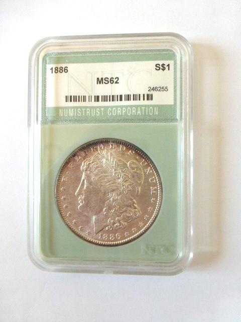 """מטבע כסף ע""""ס דולר Morgan Dollar 1886 מדורג NTC-MS62"""