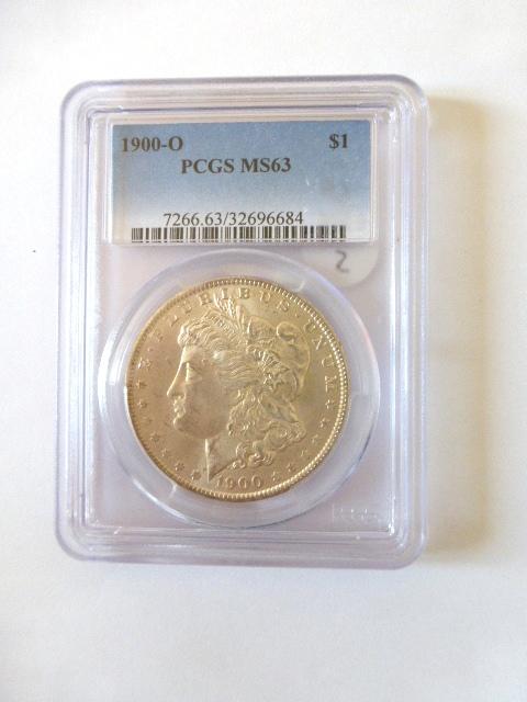 """מטבע כסף ע""""ס דולר Morgan Dollar 1900-O דירוג PCGS-MS63"""