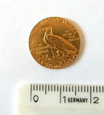 """מטבע זהב ע""""ס 2.5 דולר, ארה""""ב 1910, מצב XF"""