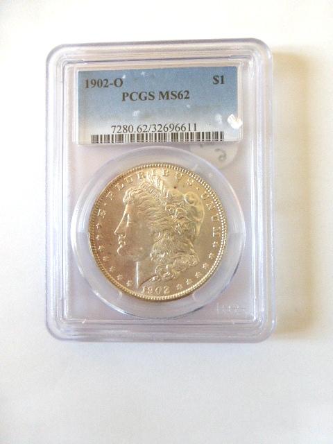 """מטבע כסף ע""""ס דולר Morgan Dollar 1902-O מדורג PCGS-MS62"""