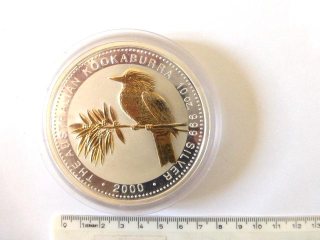 """מטבע כסף גדול מאד ע""""ס 10 דולר, אוסטרליה 2000, כסף 999, משקל 10 אונקיות (312.5 גרם), עם מראה ציפור Kooka Burra בצד ב Perth mint"""