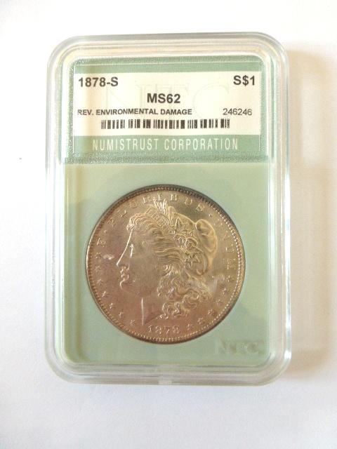 """מטבע כסף ע""""ס דולר Morgan Dollar 1878-S מדורג NTC-MS62"""