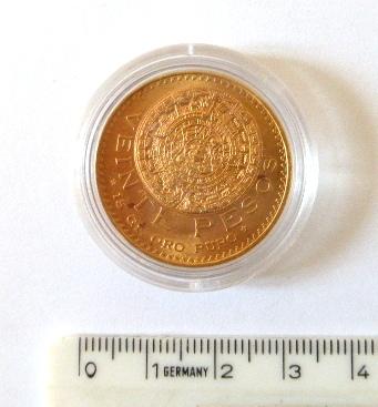 """מטבע זהב ע""""ס 20 פזו, 1959 15 גרם זהב טהור, מצב VF"""