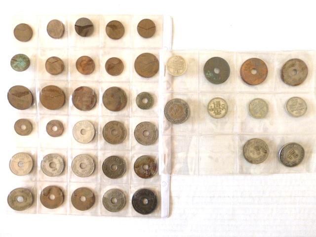 ארבעים מטבעות מנדט וארץ ישראל שנים וערכים שונים: 1 מיל (9), 2 מיל (5), 5 מיל (3), 10 מיל (12), 20 מיל (1927,1935,1942,1944), 50 מיל (1927,1935,1939,1942) 100 מיל (1927,1934,1935)