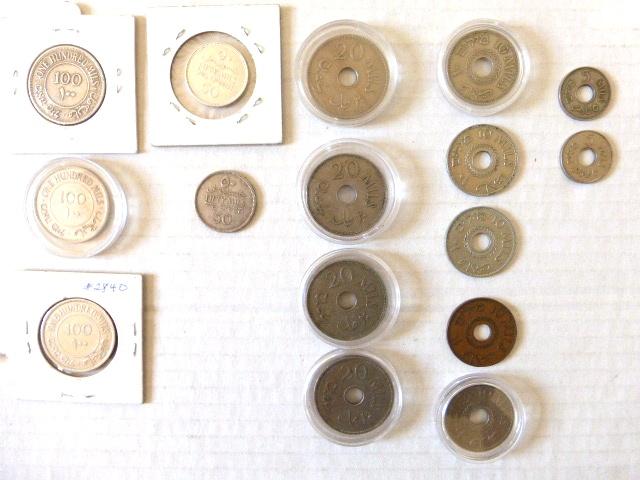 """לוט 16 מטבעות מנדט, א""""י Palestine 5 מיל (1934,1939), 10 מיל (1933, 1934,1934,1937,1942), 20 מיל (1934,1935,1940,1940), 50 מיל (1934,1935), 100 מיל (1931, 1931, 1934)"""