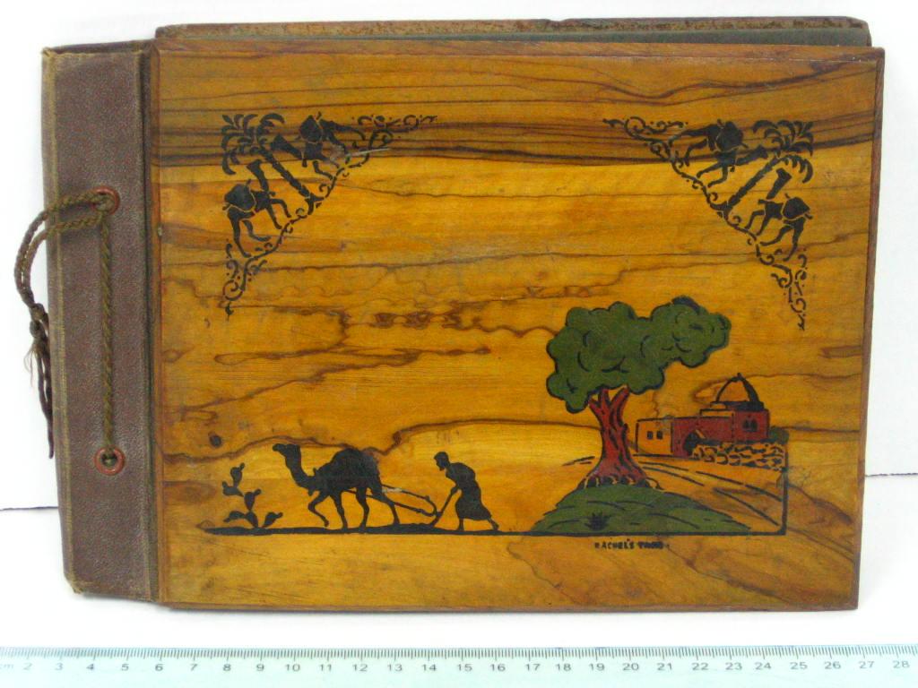אלבום לצילומים כריכת עץ זית בצלאלירושלם עם תמונה של קבר רחל וערבי חורש