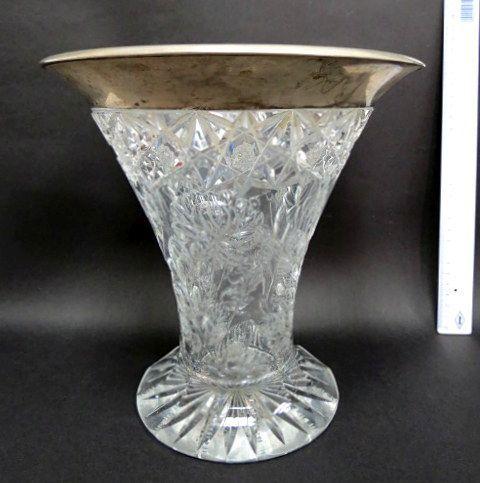 אגרטל זכוכית קריסטל מלוטש עבודת יד אומן, דוגמת פרחים, החישוק כסף 800, גרמניה, תחילת המאה ה20