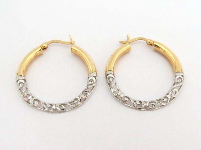 זוג עגילי זהב 14K (צהוב ולבן)