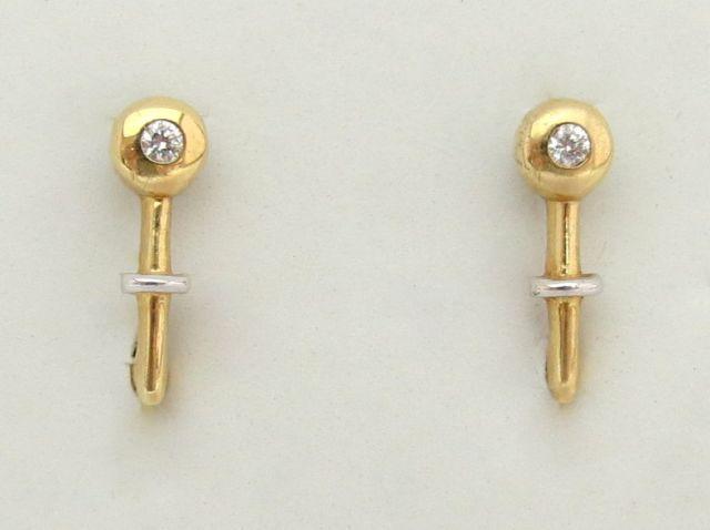 זוג עגילי זהב  14K, משובצים בזירקונים
