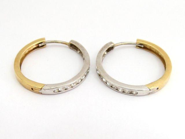 זוג עגילי זהב 14K לבן וצהוב, עם שיבוץ זירקונים