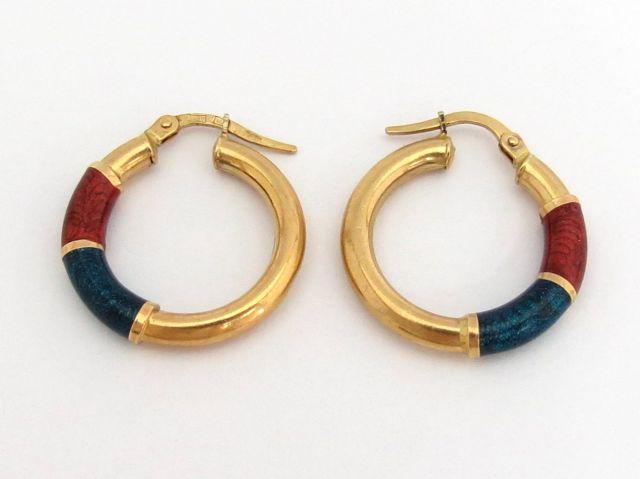 זוג עגילי זהב 14K, עם אמייל אדום וכחול