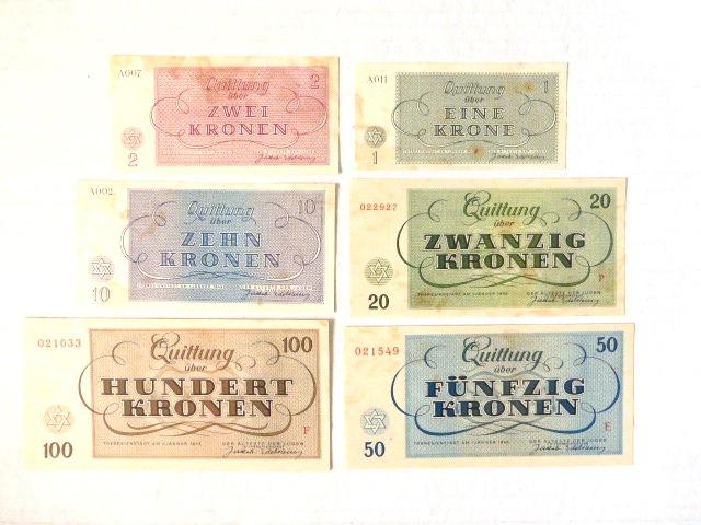 """סדרת שטרות-קבלות, גטו טרזין 1.1.1943 ע""""ס 1,2,10,20,50 ו-100 קרונות (חתומים)"""