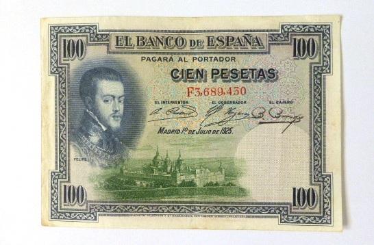 שטר על סך 100 פזטות Cien Pesetas, Madrid 1925 , VF