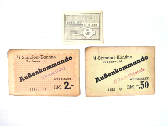 שלושה שטרות, מחנות של הנאצים א. Buchenwald RM 0.50 ב. Buchenwald RM -.2  ג. Mittelbau RM 0.01