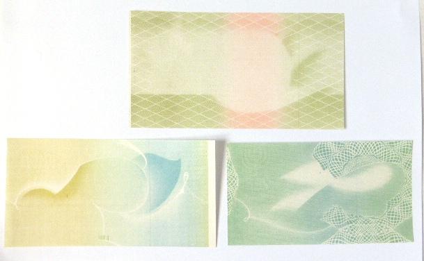 """שלושה """"פרופים"""" של שטרות הדפסה נסיונית של 500 פר, 1 ל""""י ו-10 ל""""י (כולל פס ומנורה סימן מים)"""