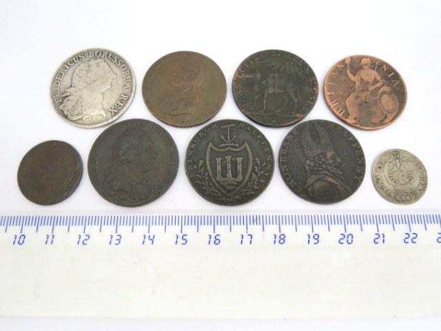 לוט של תשעה מטבעות: שתי מטבעות כסף, מדינות גרמניה, 1776,1768, וכן שבע מברונזה, אנגליה, מאות 17,18