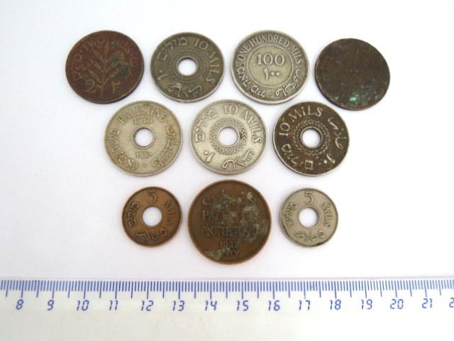 """עשר מטבעות פלשתינה-א""""י, מנדט: 100 מיל , 1935, 10 מיל (4), 5 מיל (2), 2 מיל (3)"""