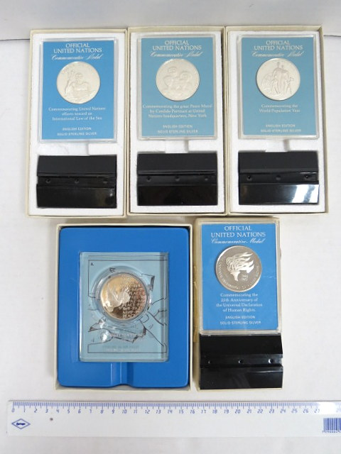חמש מדליות כסף Sterling של האומות המאוחדות,Official United Nations commemorative medals: law of the sea, 1974, The grand peace mural, 1974, UN Peace medal, 1973 World population year 1974, Human rights 1973