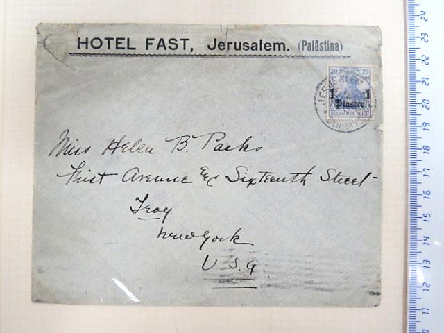 מעטפה שנשלחה בדואר הגרמני, ירושלים, ממלון פאסט Hotel Fast Jerusalem Palestine, לניו יורק, שנות העשרה של המאה ה20, חותמת לא ברורה