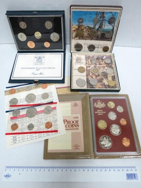"""לוט מטבעות פרוף: אוסטרליה 1988, ארה""""ב 1986 (2), אנגליה, 1987, סן-מרינו, 1982, 1983"""