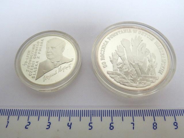 """שתי מטבעות זכרון, כסף, פולין ע""""ס 100000 זלוטי, 1992, 300000 זלוטי, 1993"""