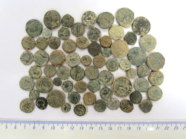 """לוט 65 מטבעות ברונזה סלווקיות ארץ ישראל וסוריה, מאות שלישית עד ראשונה לפנה""""ס"""