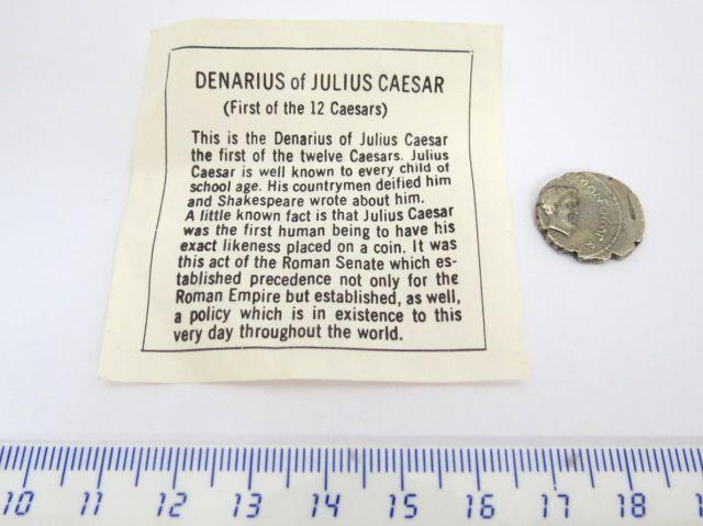 """מטבע כסף רומי, ע""""ס דינריוס שלטון יוליוס קיסר"""