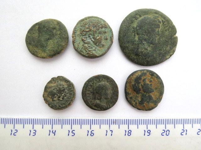 """שש מטבעות ערים רומיות, ברונזה א""""י ומצרים: בוסטרה, עזה, אלכסנדריה, ציפורי, קיסריה ואנטיוכיה"""