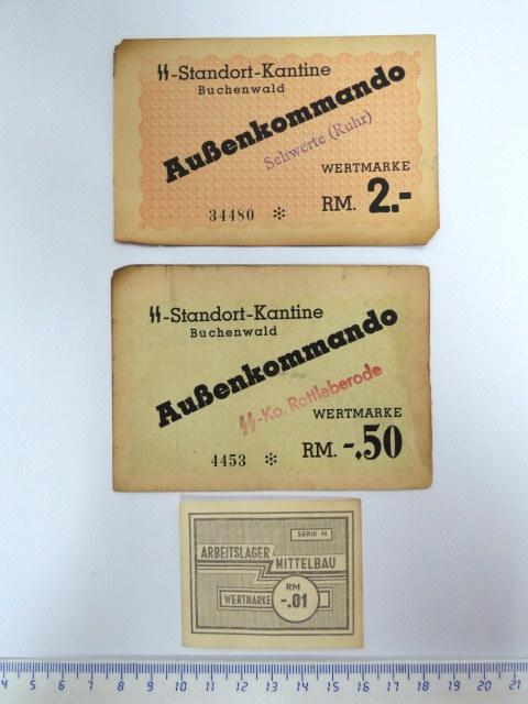 """שלושה תלושים-שטרות של Aussenkommando Schwerte SS Standort kantine Buchenwald ע""""ס 2 RM, של Aussenkommando ko Rottleberode  ע""""ס 50 RM, וקופון Arbeitslager Mittelbau, ע""""ס 0.01 RM"""
