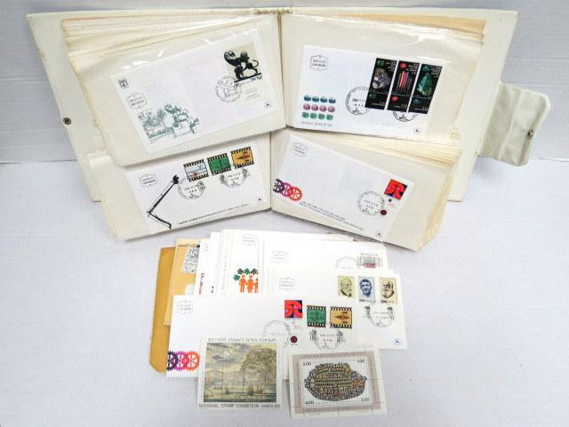 """אלבום עם מעטפות """"יום הופעת הבול"""" ישראל, 1978-1981, כולל גם בולים לא חתומים"""