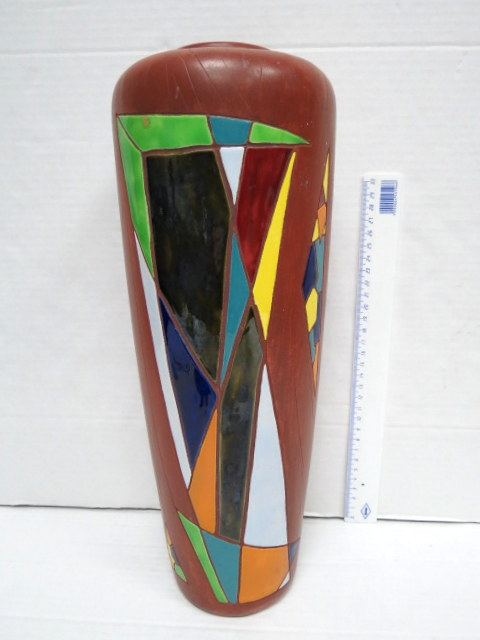 """אגרטל קרמיקה תוצ' קרמוס ישראל, חתום, גובה 38 ס""""מ"""