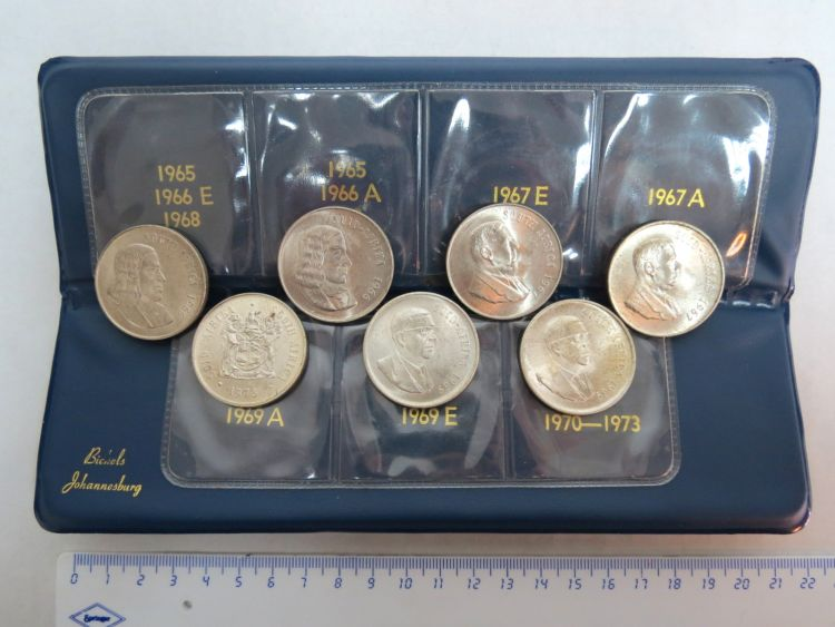 סט של 7 מטבעות כסף, דרום אפריקה 1966 Complete type set, S.A. Silver Rands