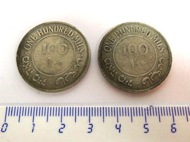 """שני מטבעות פלשתינה א""""י 1934 ע""""ס 100 מיל, מצבים VG-Fine"""