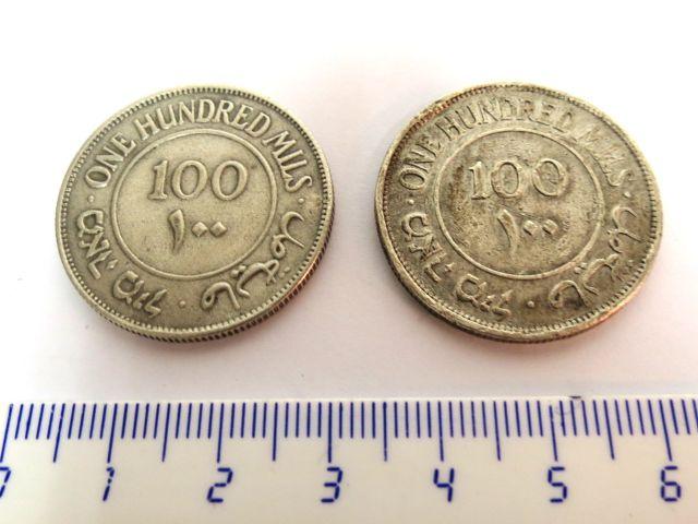 """שתי מטבעות כסף, פלשתינה א""""י 1934 ע""""ס 100 מיל, מצבים VG-Fine"""